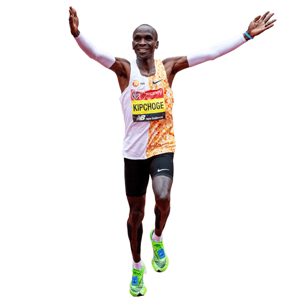 Kipchoge celebrates after the 2019 Virgin Money London Marathon