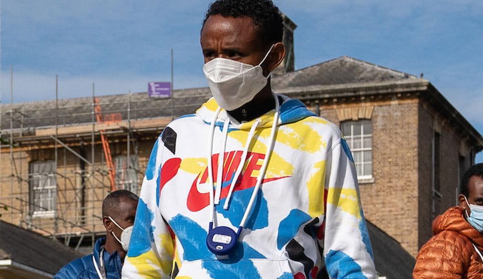 Mosinet Geremew on his way to Covid-19 testing at the 2020 Virgin Money London Marathon