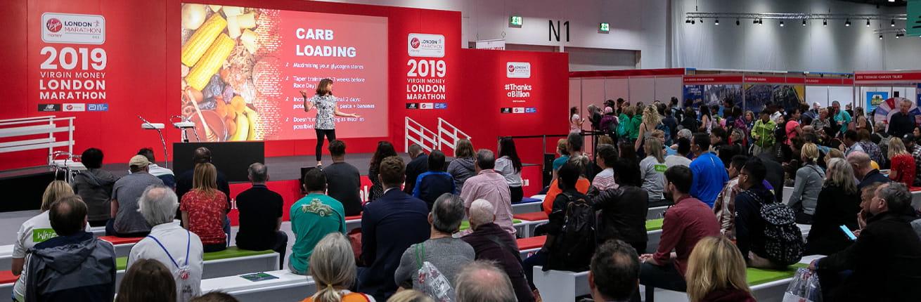 On stage at the 2019 Virgin Money London Marathon Running Show