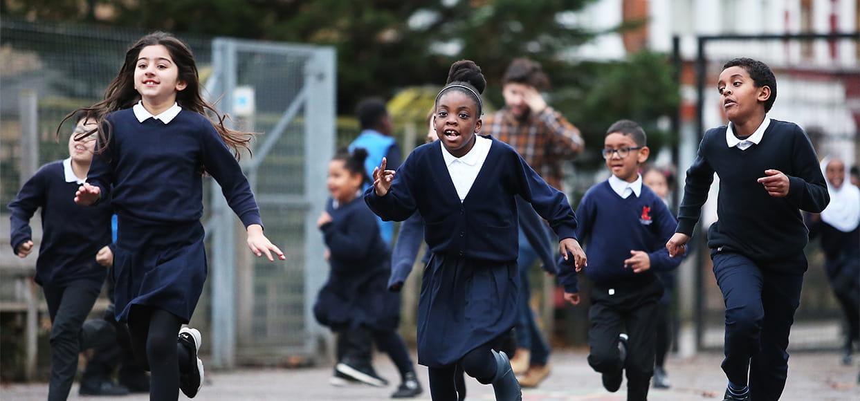 Children at Earlsmead Primary School taking part in the virtual Virgin Money Giving London Marathon