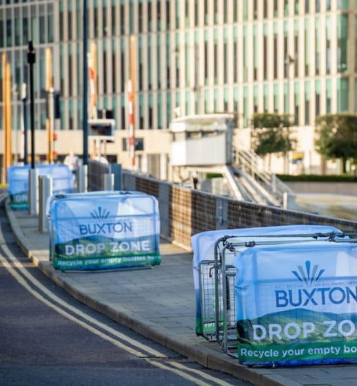 Buxton water bottle drop bins at the Vitality Big Half