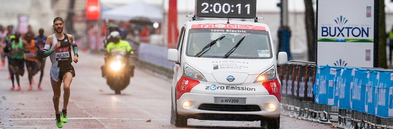 An electric vehicle at the 2020 Virgin Money London Marathon